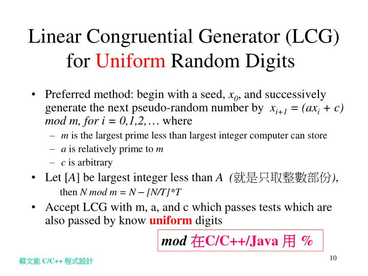Linear Congruential Generator (LCG) for