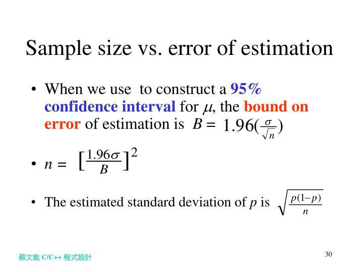 Sample size vs. error of estimation
