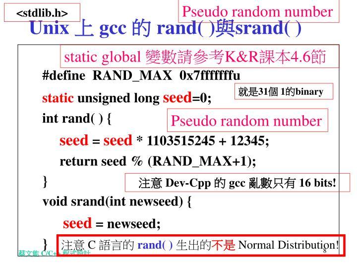 Pseudo random number