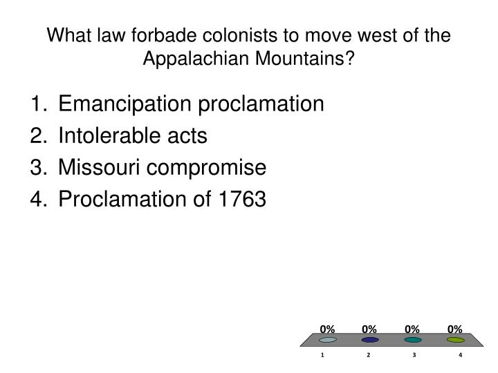 What law forbade colonists to move west of the Appalachian Mountains?