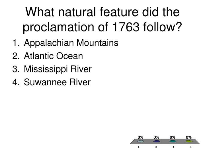 What natural feature did the proclamation of 1763 follow?