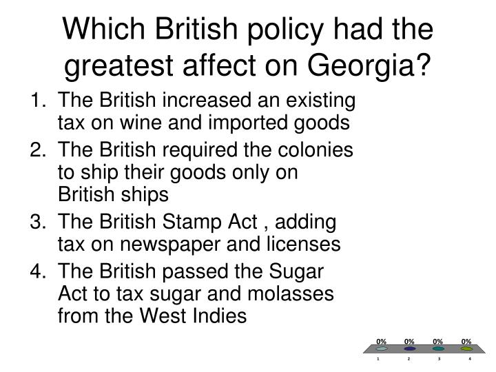 Which British policy had the greatest affect on Georgia?