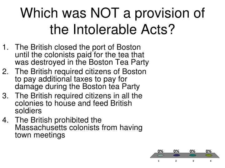 Which was NOT a provision of the Intolerable Acts?