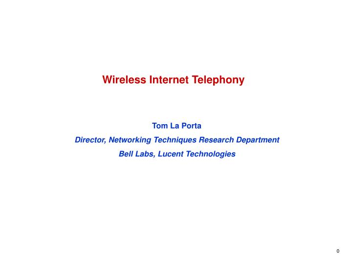 Wireless internet telephony