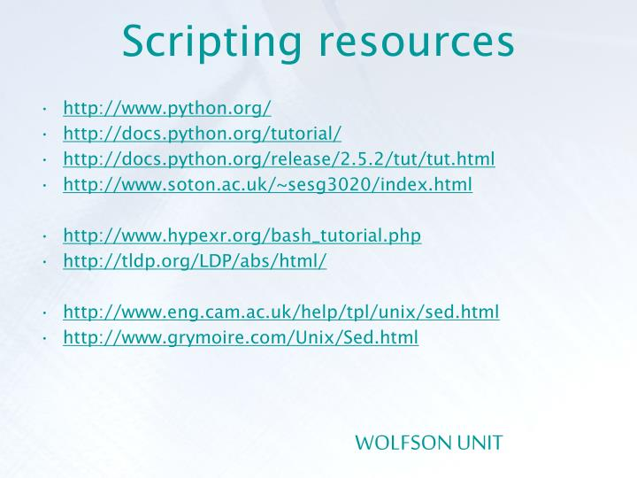 Scripting resources