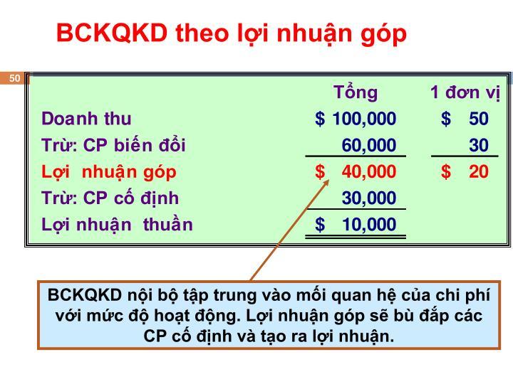 BCKQKD nội bộ tập trung vào mối quan hệ của chi phí với mức độ hoạt động.