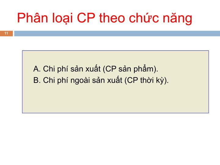 Phân loại CP theo chức năng