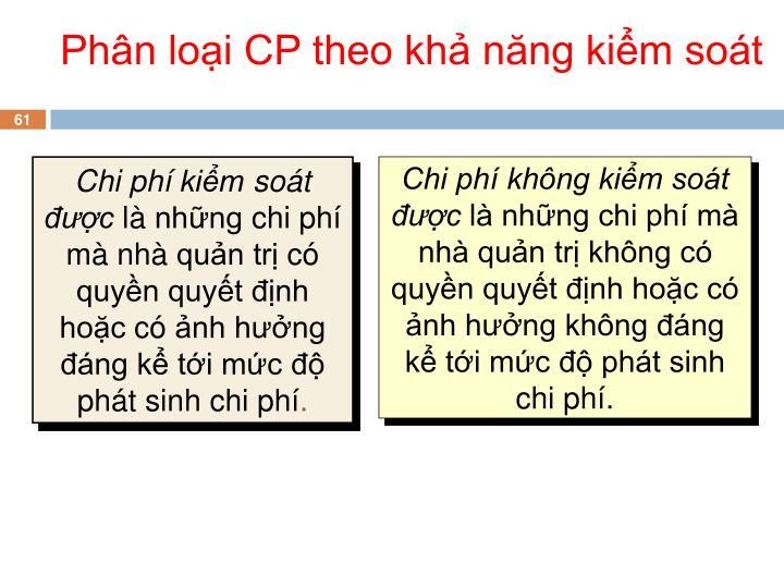 Phân loại CP theo khả năng kiểm soát