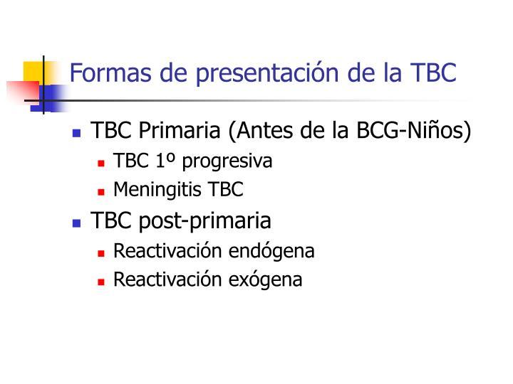 Formas de presentación de la TBC