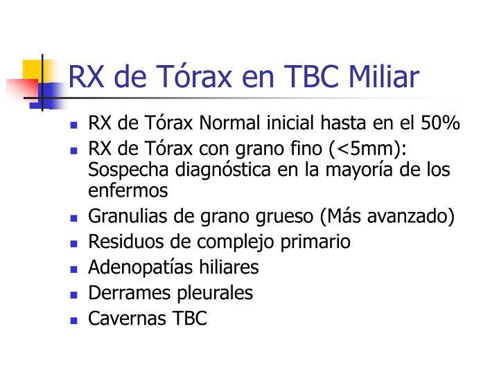 RX de Tórax en TBC Miliar