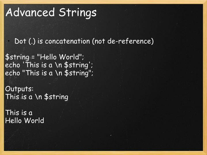 Advanced Strings