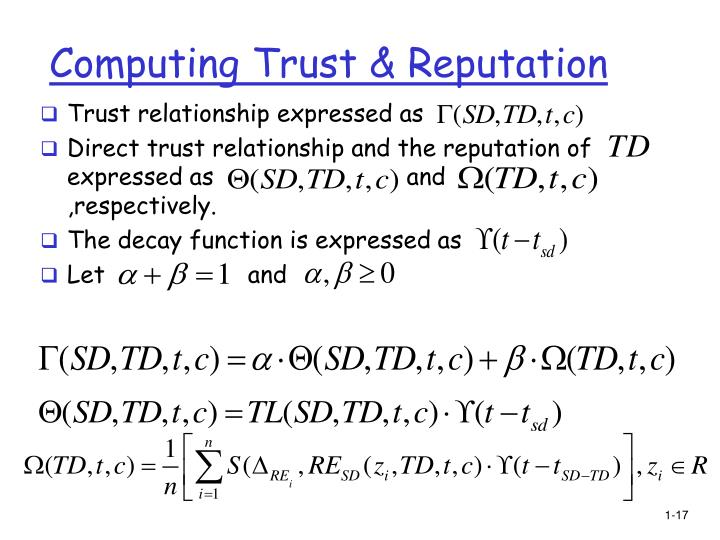 Computing Trust & Reputation