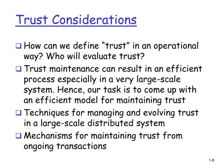 Trust Considerations