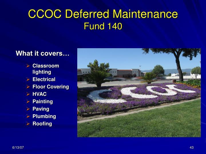 CCOC Deferred Maintenance