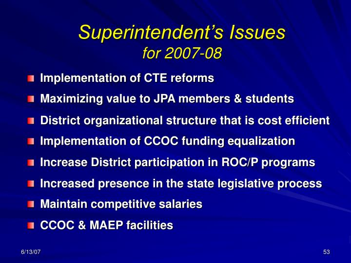 Superintendent's Issues