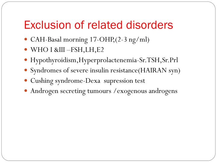 Exclusion of related disorders