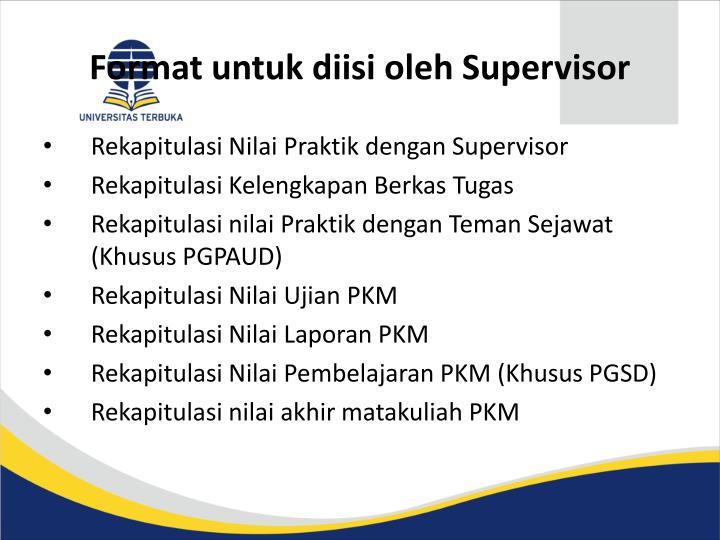 Format untuk diisi oleh Supervisor