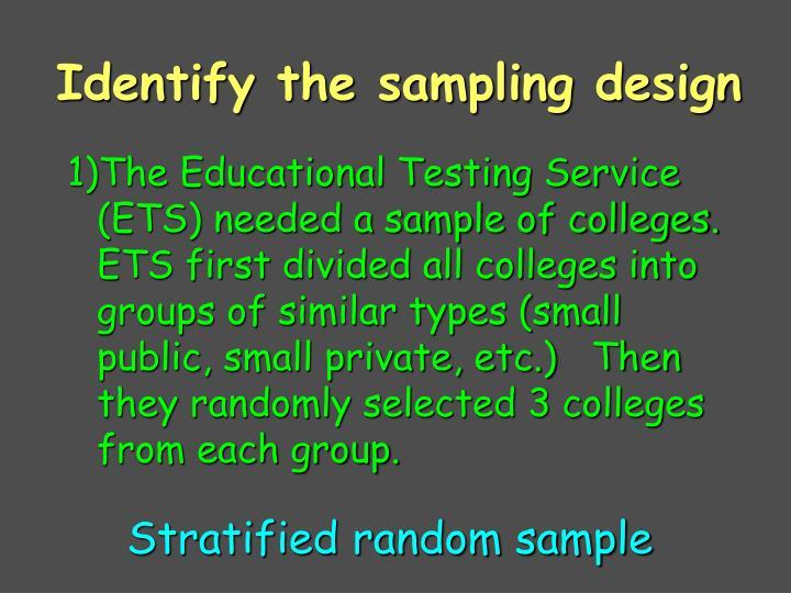 Identify the sampling design