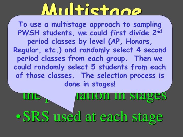 select successively smaller groups within the population in stages