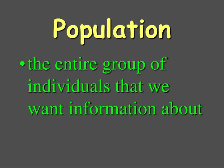 the entire group of individuals that we want information about