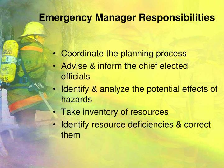 Emergency Manager Responsibilities