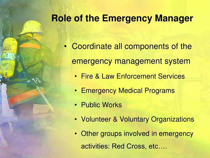 Role of the Emergency Manager