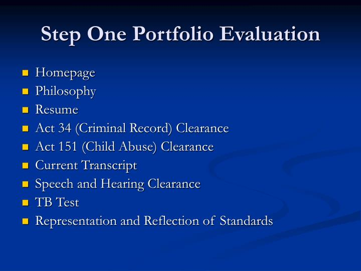 Step One Portfolio Evaluation