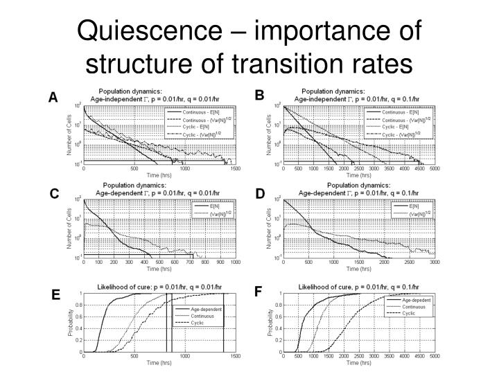 Quiescence – importance of structure of transition rates