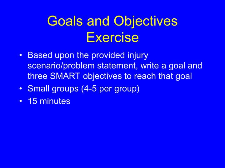 Goals and Objectives Exercise