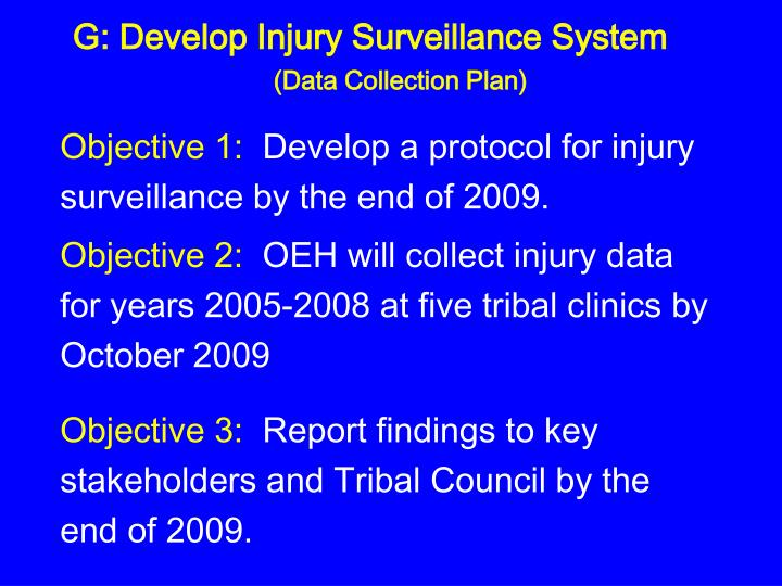 G: Develop Injury Surveillance System