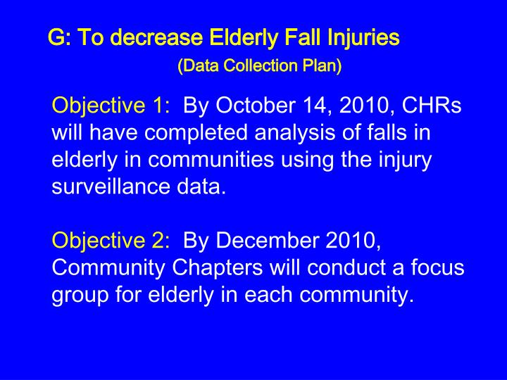 G: To decrease Elderly Fall Injuries