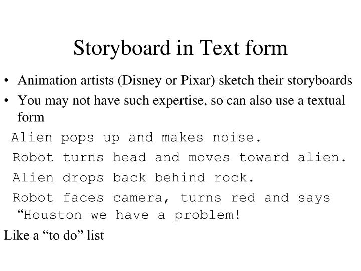 Storyboard in Text form