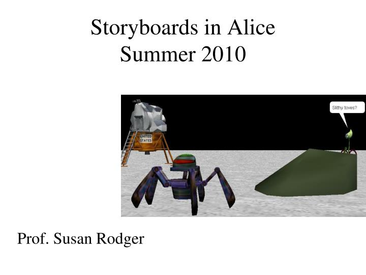 Storyboards in alice summer 2010