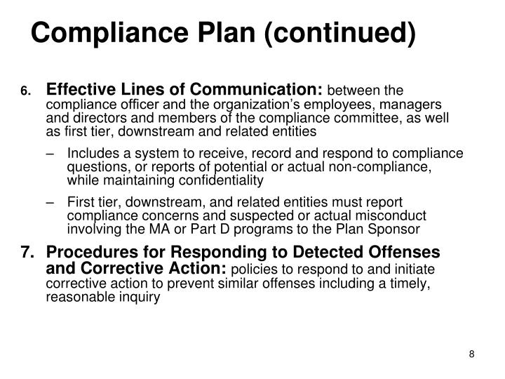 Compliance Plan (continued