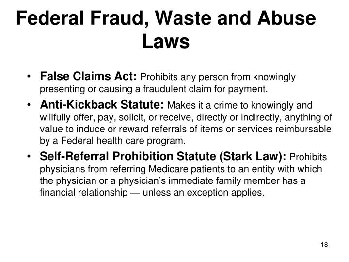 Federal Fraud, Waste and Abuse Laws