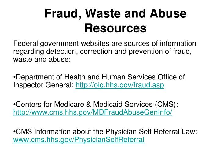 Fraud, Waste and Abuse Resources