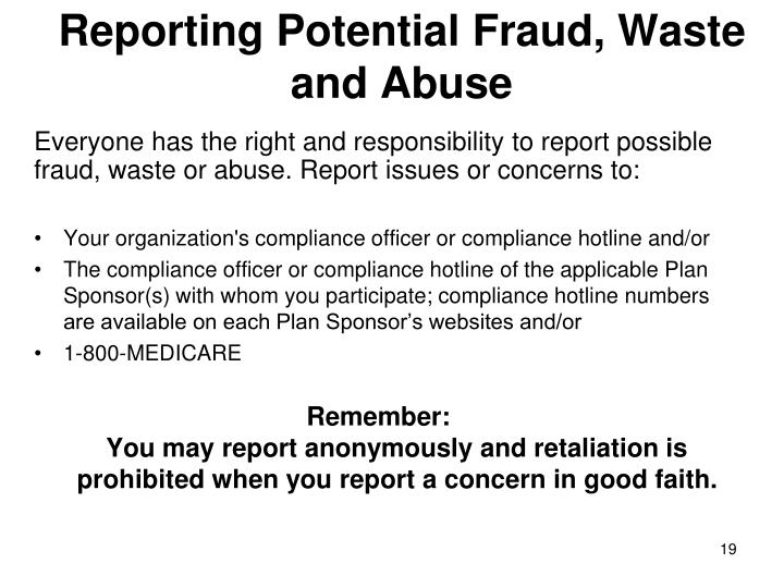 Reporting Potential Fraud, Waste and Abuse