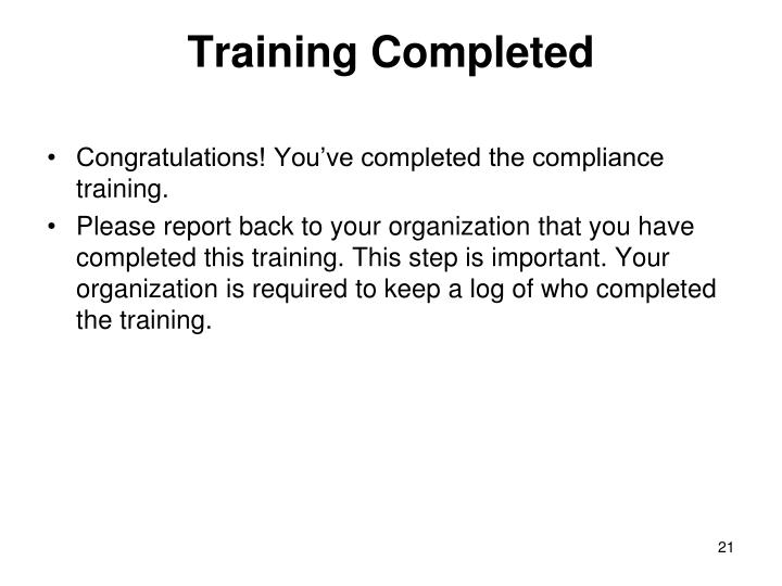 Training Completed