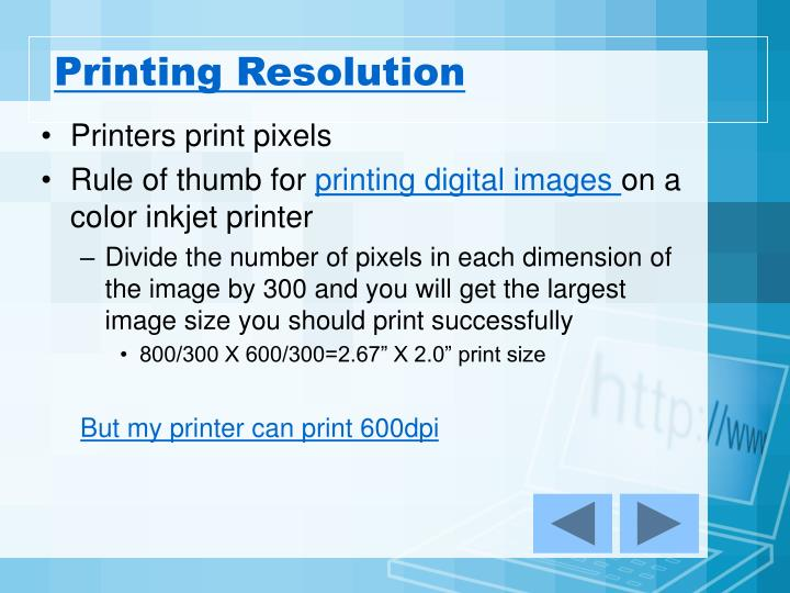 Printing Resolution