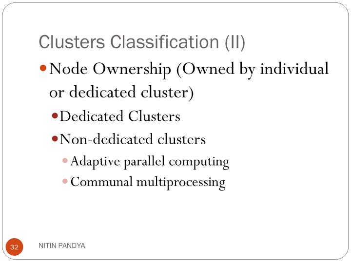 Clusters Classification (II)