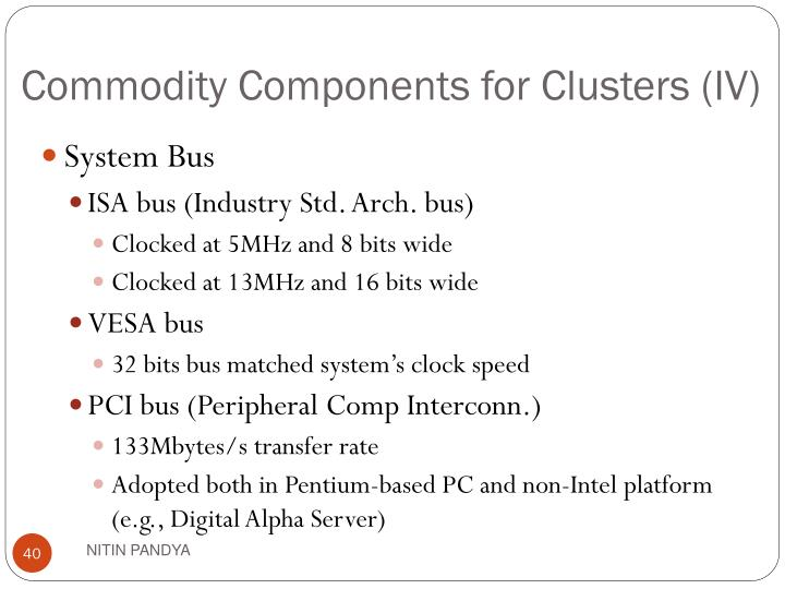 Commodity Components for Clusters (IV)