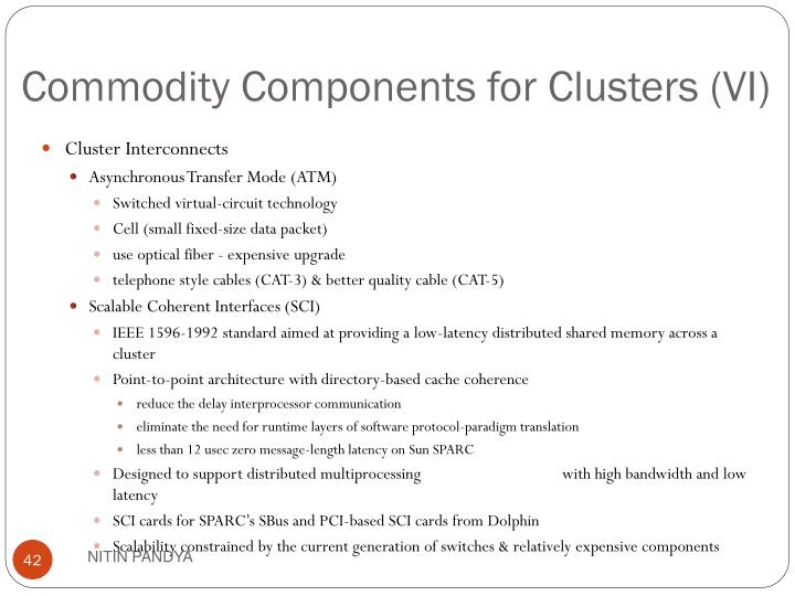 Commodity Components for Clusters (VI)