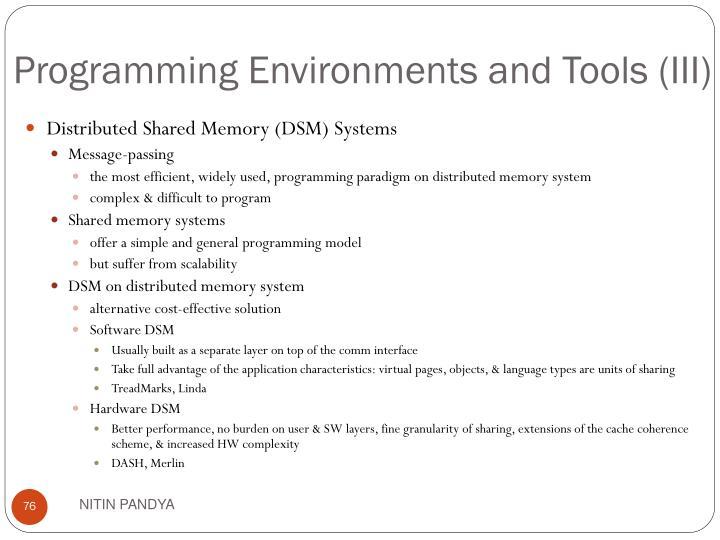 Programming Environments and Tools (III)