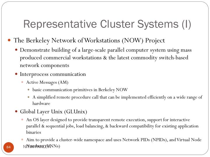 Representative Cluster Systems (I)