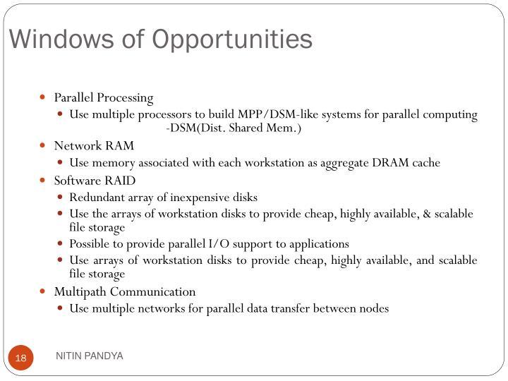 Windows of Opportunities