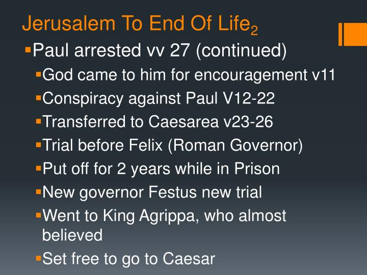 Jerusalem To End Of Life