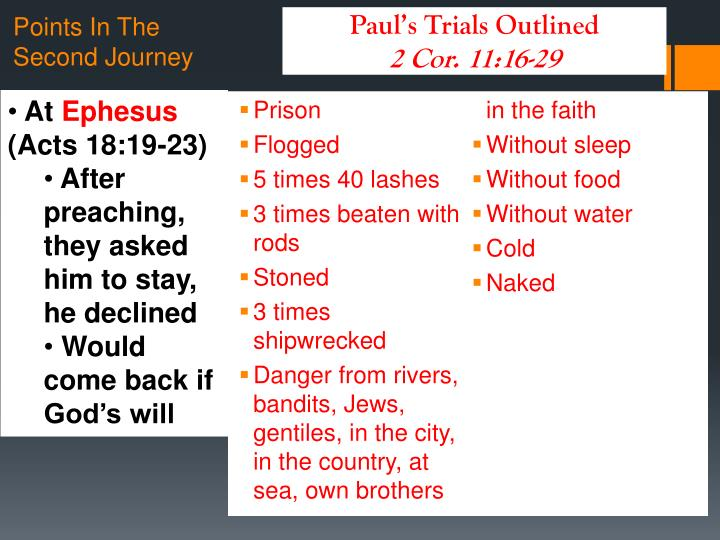 Paul's Trials Outlined