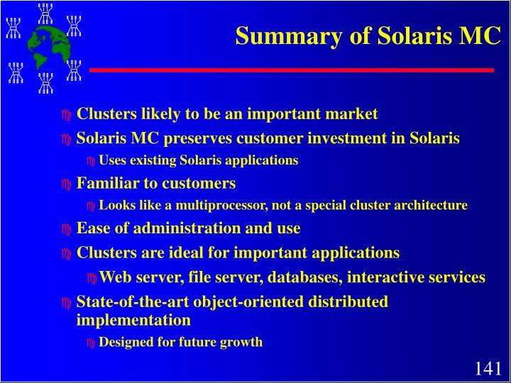 Summary of Solaris MC