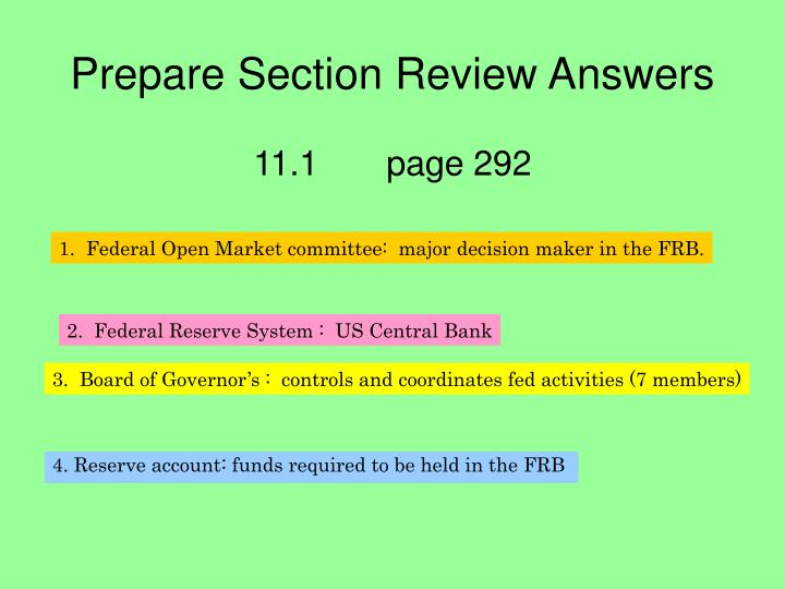 Prepare Section Review Answers