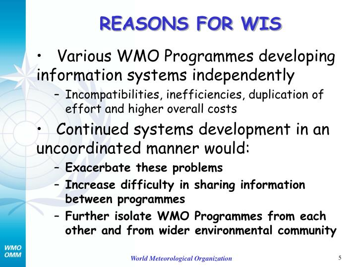 REASONS FOR WIS